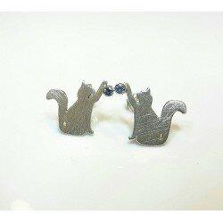 Srebrne kolczyki koty z cyrkoniami