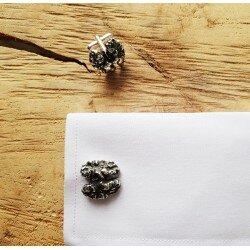 Srebrne spinki do mankietów orzech włoski, mózg