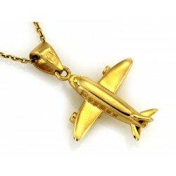Złota zawieszka wisiorek samolot