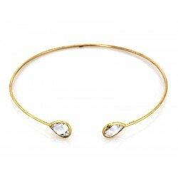 Złota sztywna bransoleta z kryształkami