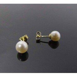 Perłowe złote kolczyki