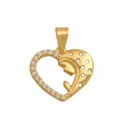 Złoty medalik serce z Matką Boską
