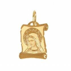Złoty medalik papirus Matka Boska