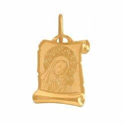 Złoty medalik papirus Matka Boska i Dzieciątko