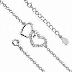 Celebrytka srebrna bransoletka połączone serca
